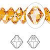 Drop, Swarovski crystal, Crystal Passions®, topaz, 8mm faceted bicone pendant (6301). Sold per pkg of 12.