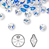 Drop, Swarovski crystal, crystal AB, 6mm Xilion rivoli pendant (6428). Sold per pkg of 144 (1 gross).