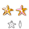 Drop, Swarovski crystal, crystal astral pink, 17x16mm faceted starfish pendant (6721). Sold per pkg of 72.