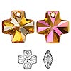 Drop, Swarovski crystal, crystal astral pink, 20x20mm faceted cross pendant (6866). Sold per pkg of 72.