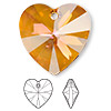 Drop, Swarovski crystal, crystal astral pink, 28x28mm Xilion heart pendant (6228). Sold per pkg of 16.