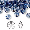 Drop, Swarovski crystal, denim blue, 8mm Xilion rivoli pendant (6428). Sold per pkg of 144 (1 gross).