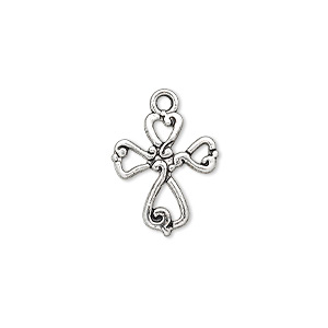 "Drop, antique silver-finished ""pewter"" (zinc-based alloy), 16.5x14.5mm double-sided open cross. Sold per pkg of 10."