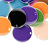 Drop mix, epoxy and silver-plated brass, mixed colors, 18mm double-sided round. Sold per pkg of 40.