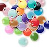 Drop mix, epoxy and silver-plated brass, mixed colors, 8mm double-sided round. Sold per pkg of 120.