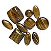 Drop mix, tigereye (natural), 14x14mm-25mm mixed shape, Mohs hardness 7. Sold per pkg of 10.
