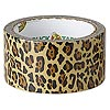 Duct tape, Duck Tape®, plastic / poly-cotton cloth / rubber, tan / brown / black, 48mm wide with leopard print pattern. Sold per 10-yard spool.