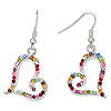 Earring, Czech crystal rhinestone and imitation rhodium-finished pewter (tin-based alloy), multicolored, 24x21mm with heart and fishhook earwire. Sold per pair.