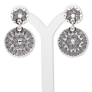 "Earring, Czech glass rhinestone with antiqued silver-finished ""pewter"" (zinc-based alloy) and brass, clear, 1-5/8 inches with flat round and flower design with post. Sold per pair."