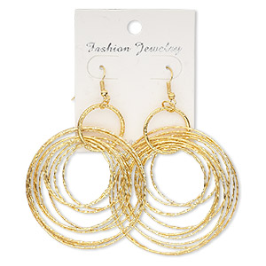Earring, gold-finished steel, 3-1/2 inch graduated textured circles with fishhook earwire. Sold per pair.