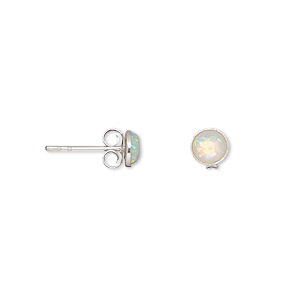 Earring, opal (imitation) and sterling silver, white, 5mm round with post. Sold per pair.