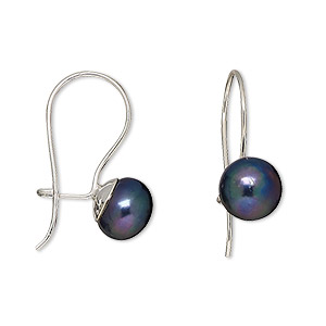 Earring, sterling silver and cultured freshwater pearl, peacock, 8-8.5mm button with kidney earwire, 22x8mm overall. Sold per pair.