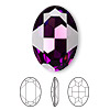 Embellishment, Swarovski crystal, Crystal Passions®, amethyst, foil back, 30x22mm faceted oval fancy stone (4127). Sold individually.