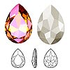 Embellishment, Swarovski crystal, Crystal Passions®, crystal astral pink, foil back, 30x20mm faceted pear fancy stone (4327). Sold per pkg of 4.