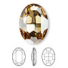 Embellishment, Swarovski crystal, Crystal Passions®, crystal golden shadow, foil back, 30x22mm faceted oval fancy stone (4127). Sold individually.