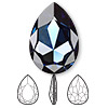 Embellishment, Swarovski crystal rhinestone, Crystal Passions®, Montana, foil back, 30x20mm faceted pear fancy stone (4327). Sold individually.