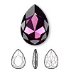 Embellishment, Swarovski crystal rhinestone, Crystal Passions®, amethyst, foil back, 30x20mm faceted pear fancy stone (4327). Sold per pkg of 4.