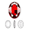 Embellishment, Swarovski crystal rhinestone, Crystal Passions®, crystal red magma, foil back, 30x22mm faceted oval fancy stone (4127). Sold per pkg of 4.