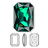 Embellishment, Swarovski crystal rhinestone, Crystal Passions®, emerald, foil back, 27x18.5mm faceted emerald-cut fancy stone (4627). Sold per pkg of 4.