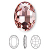 Embellishment, Swarovski crystal rhinestone, Crystal Passions®, light rose, foil back, 30x22mm faceted oval fancy stone (4127). Sold per pkg of 4.