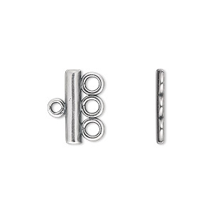 End bar, JBB Findings, antique silver-plated pewter (tin-based alloy), 15.5x3.5mm single-sided bar with 3 bottom loops. Sold per pkg of 2.
