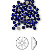 Flat back, Swarovski crystal rhinestone, Crystal Passions®, cobalt, foil back, 3-3.2mm Xilion rose (2058), SS12. Sold per pkg of 144 (1 gross).