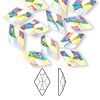 Flat back, Swarovski crystal rhinestone, Crystal Passions®, crystal AB, foil back, 13x8mm faceted rhombus (2709). Sold per pkg of 144 (1 gross).