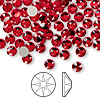 Flat back, Swarovski crystal rhinestone, Crystal Passions®, light Siam, foil back, 4.6-4.8mm Xilion rose (2058), SS20. Sold per pkg of 144 (1 gross).
