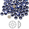 Flat back, Swarovski crystal rhinestone, Crystal Passions®, tanzanite, foil back, 4.6-4.8mm Xilion rose (2058), SS20. Sold per pkg of 144 (1 gross).
