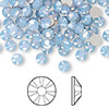 Flat back, Swarovski crystal rhinestone, air blue opal, foil back, 4.6-4.8mm Xilion rose (2058), SS20. Sold per pkg of 12.