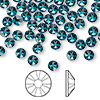 Flat back, Swarovski crystal rhinestone, blue zircon, foil back, 4.6-4.8mm Xilion rose (2058), SS20. Sold per pkg of 144 (1 gross).