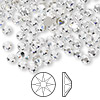 Flat back, Swarovski crystal rhinestone, crystal clear, foil back, 3.8-4mm Xilion rose (2058), SS16. Sold per pkg of 144 (1 gross).