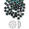 Flat back, Swarovski crystal rhinestone, emerald, foil back, 3.8-4mm Xilion rose (2058), SS16. Sold per pkg of 144 (1 gross).