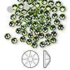 Flat back, Swarovski crystal rhinestone, peridot, foil back, 3.8-4mm Xilion rose (2058), SS16. Sold per pkg of 144 (1 gross).