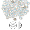 Flat back, Swarovski crystal rhinestone, white opal, foil back, 3.8-4mm Xilion rose (2058), SS16. Sold per pkg of 144 (1 gross).