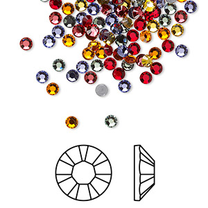 Flat back, Swarovski® crystal hotfix rhinestone, Crystal Passions®, Heat, foil back, 2.7-2.9mm Xilion rose (2028), SS10. Sold per pkg of 144 (1 gross).