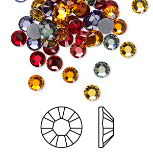 Flat back, Swarovski® crystal hotfix rhinestone, Crystal Passions®, Heat, foil back, 4.6-4.8mm Xilion rose (2028), SS20. Sold per pkg of 72.