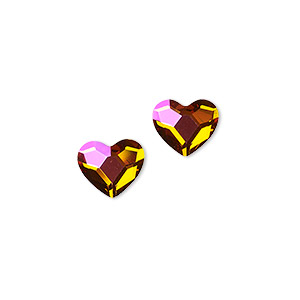 Flat back, Swarovski® crystal hotfix rhinestone, crystal astral pink, foil back, 10x8.5mm faceted heart (2808). Sold per pkg of 2.