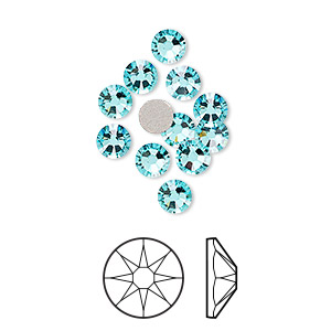 Flat back, Swarovski® crystal rhinestone, Crystal Passions®, light turquoise, foil back, 4.6-4.8mm Xirius rose (2088), SS20. Sold per pkg of 12.
