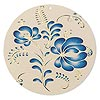 Focal, Lazer Lace™, color film and gold-finished brass, blue and taupe, 47mm single-sided round with floral design. Sold per pkg of 2.