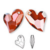 Focal, Swarovski crystal, Crystal Passions®, crystal red magma, 36x26mm faceted Devoted 2 U Heart pendant (6261). Sold per pkg of 12.