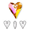 Focal, Swarovski crystal, crystal astral pink, 37x30mm faceted wild heart pendant (6240). Sold per pkg of 6.