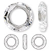 Focal, Swarovski crystal, crystal clear, 30mm faceted cosmic round ring fancy stone (4139). Sold per pkg of 18.