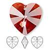 Focal, Swarovski crystal, crystal red magma, 40x40mm Xilion heart pendant (6228). Sold per pkg of 6.