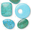 Focal and drop mix, magnesite (dyed / stabilized), blue-green, 21x20mm-102x70mm mixed shape, Mohs hardness 3-1/2 to 4. Sold per pkg of 5.