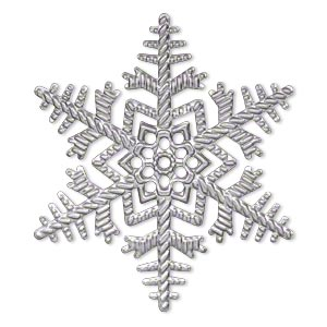 Focal, antique silver-plated steel, 50x50mm single-sided snowflake. Sold per pkg of 12.