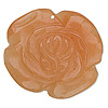 Focal, red aventurine (natural), 40x40mm-45x45mm carved flower, B- grade, Mohs hardness 7. Sold individually.