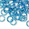 Jumpring, aluminum, light blue, 10mm smooth round, 14 gauge. Sold per pkg of 100.
