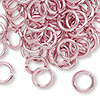 Jumpring, aluminum, pink, 10mm smooth round, 14 gauge. Sold per pkg of 100.