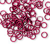 Jumpring, anodized tempered aluminum, red, 6mm round, 18 gauge. Sold per pkg of 100.